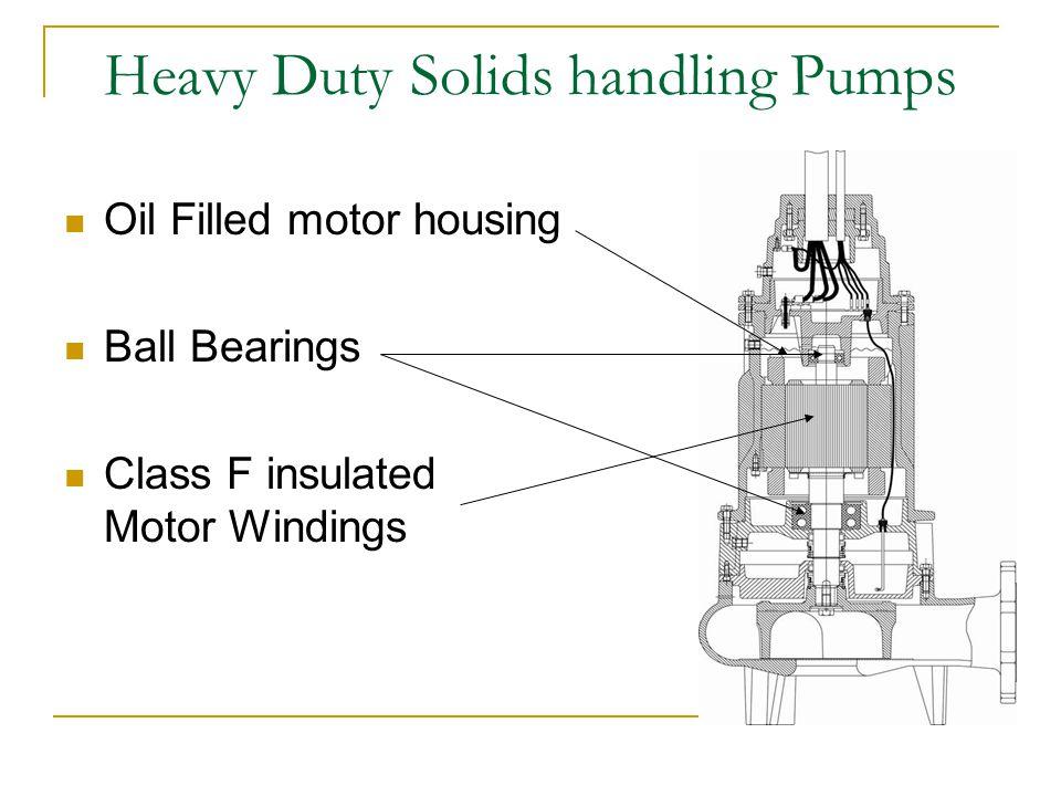 Heavy Duty Solids handling Pumps Oil Filled motor housing Ball Bearings Class F insulated Motor Windings