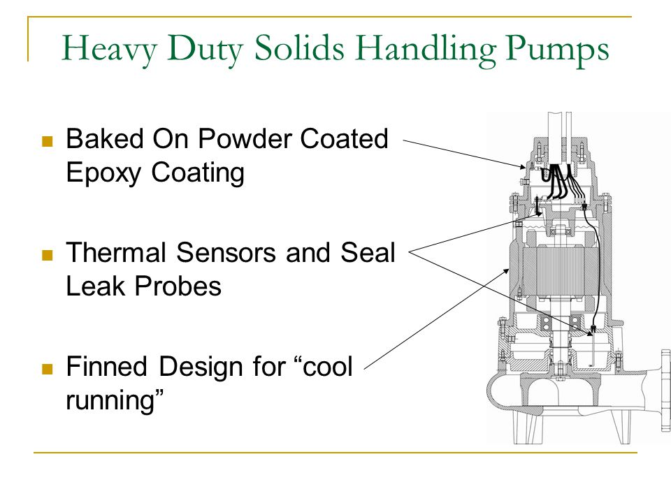 Heavy Duty Solids Handling Pumps Baked On Powder Coated Epoxy Coating Thermal Sensors and Seal Leak Probes Finned Design for cool running