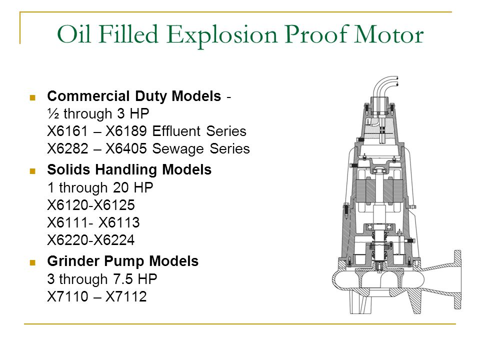 Oil Filled Explosion Proof Motor Commercial Duty Models - ½ through 3 HP X6161 – X6189 Effluent Series X6282 – X6405 Sewage Series Solids Handling Models 1 through 20 HP X6120-X6125 X6111- X6113 X6220-X6224 Grinder Pump Models 3 through 7.5 HP X7110 – X7112