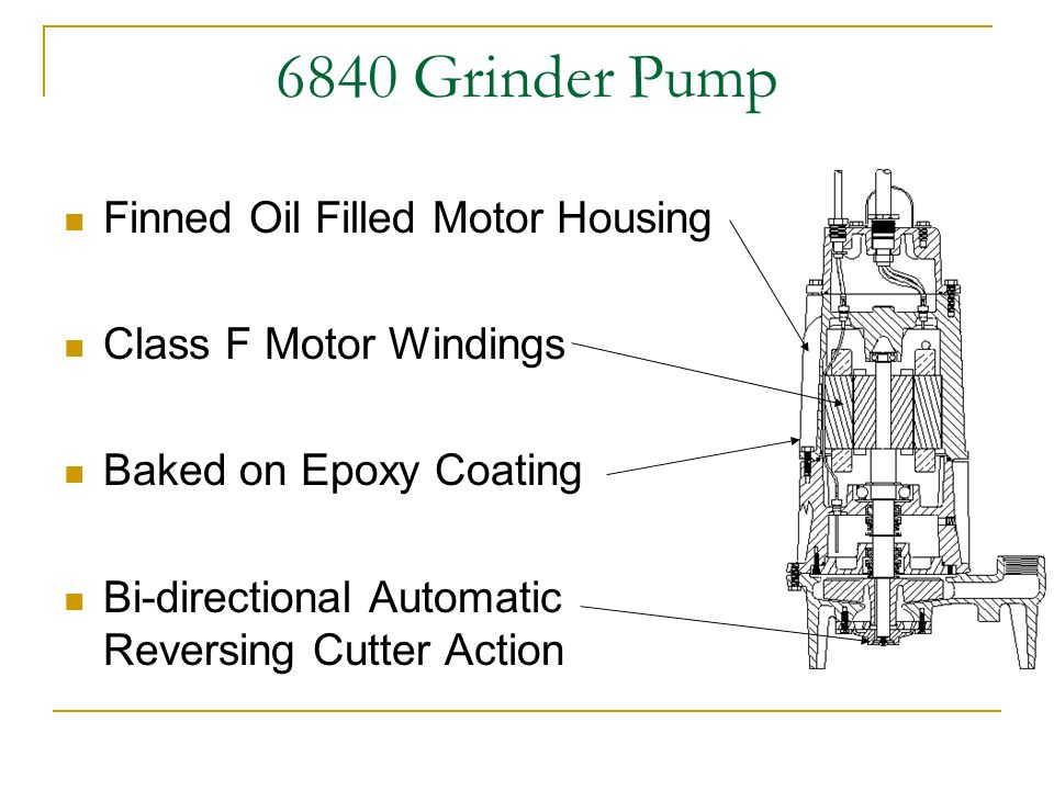 6840 Grinder Pump Finned Oil Filled Motor Housing Class F Motor Windings Baked on Epoxy Coating Bi-directional Automatic Reversing Cutter Action
