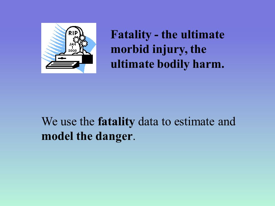 We use the fatality data to estimate and model the danger.