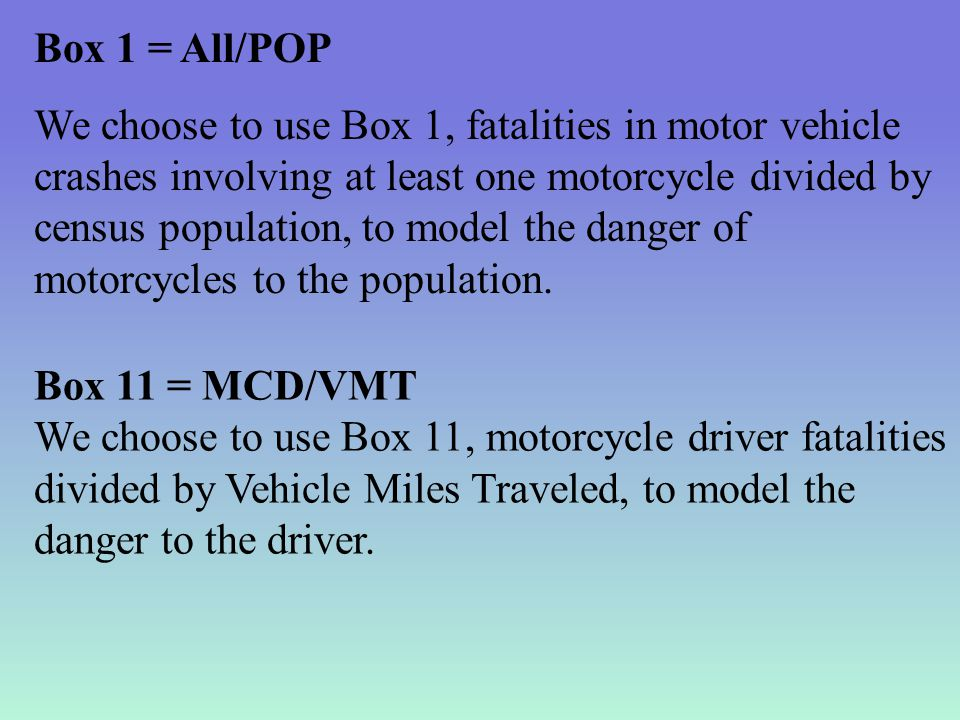 Box 1 = All/POP We choose to use Box 1, fatalities in motor vehicle crashes involving at least one motorcycle divided by census population, to model the danger of motorcycles to the population.