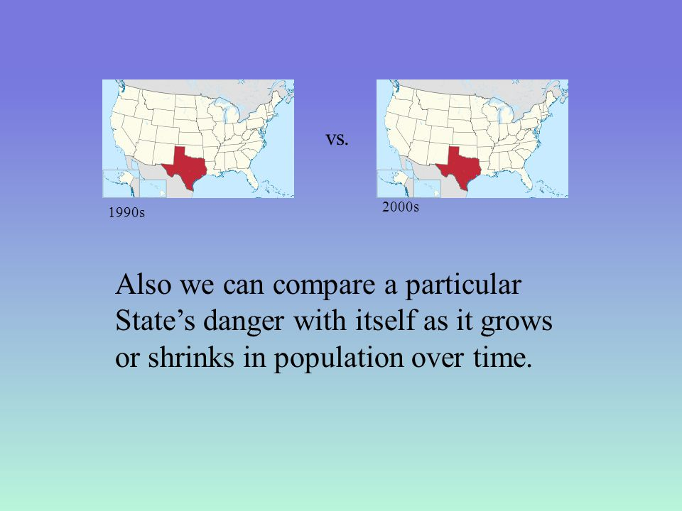 Also we can compare a particular State's danger with itself as it grows or shrinks in population over time.