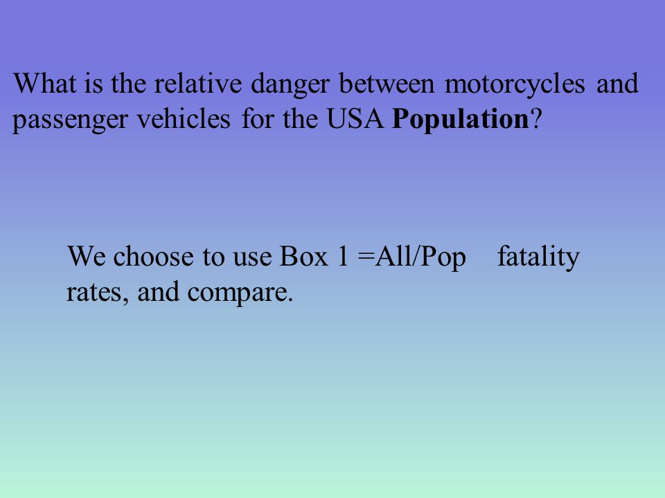 What is the relative danger between motorcycles and passenger vehicles for the USA Population.