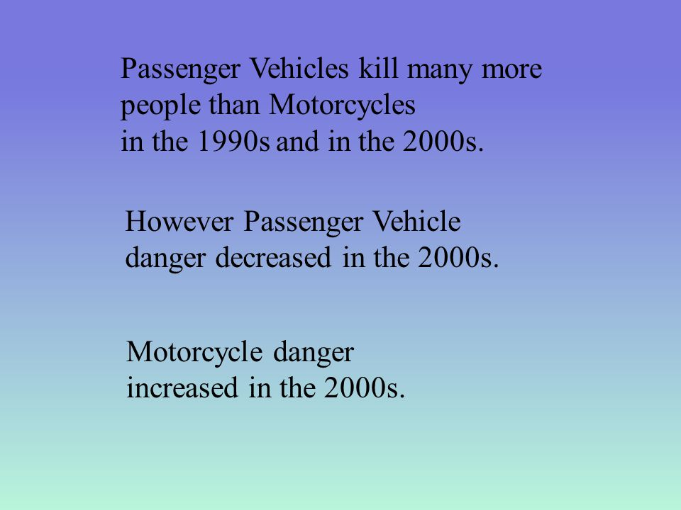 Passenger Vehicles kill many more people than Motorcycles in the 1990s and in the 2000s.
