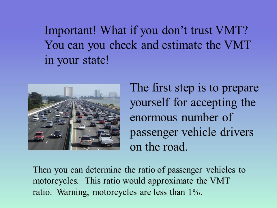 Important. What if you don't trust VMT. You can you check and estimate the VMT in your state.