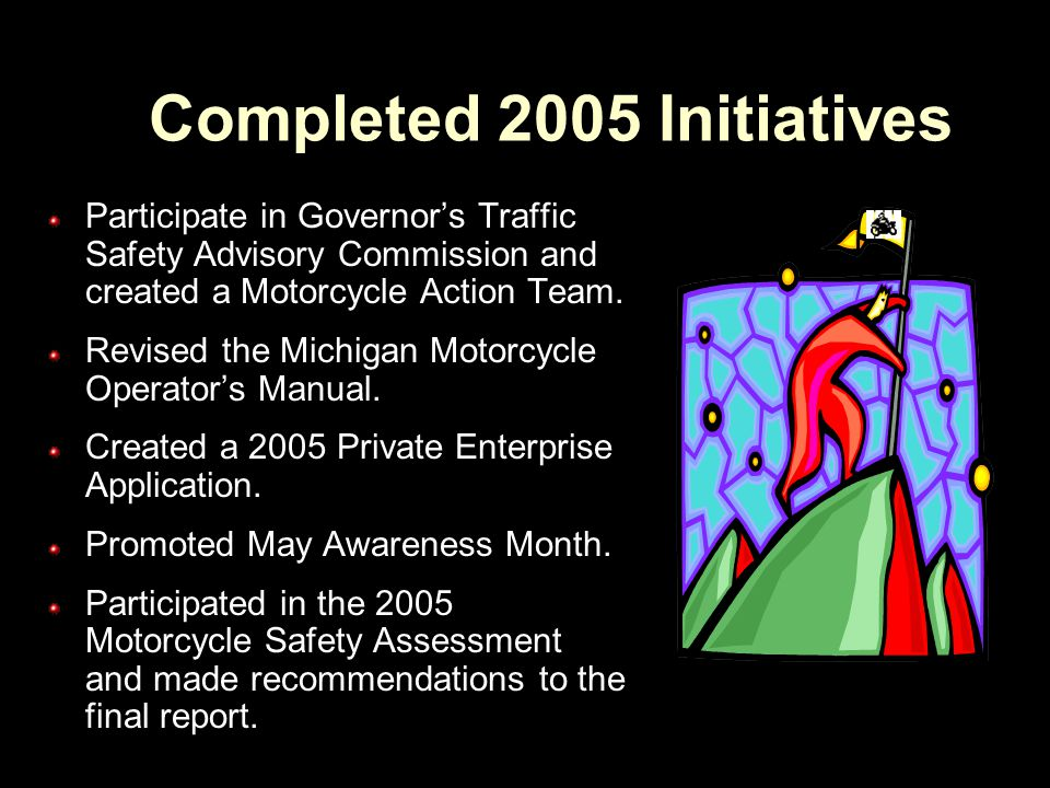 2005/06 Initiatives (continued) Recognize a Motorcycle Safety Foundation Certified Michigan Coach.