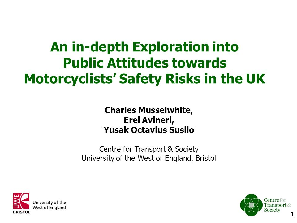Findings (2): Perception of motorcycle safety: The road as a competitive rather than a shared space Roads were seen as a space for cars viewed as competitive, particular in urban areas Car drivers did tend to recognise that there were at least two types of motorcycle rider, those who ride regularly and those who ride for leisure.