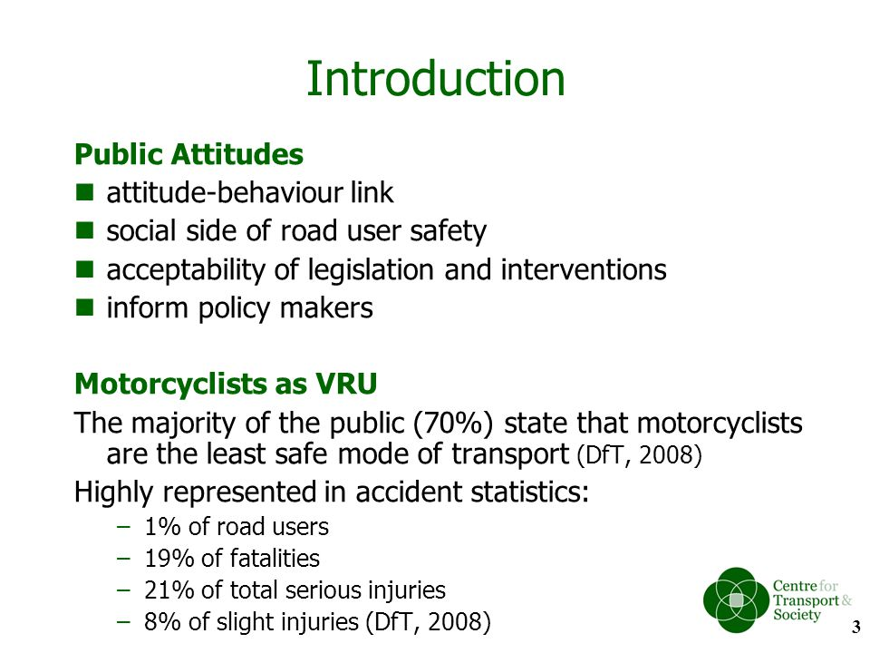 Findings (4): Empathy towards motorcyclists The calculated risk taking group showed considerable empathy towards motorcycle riders.