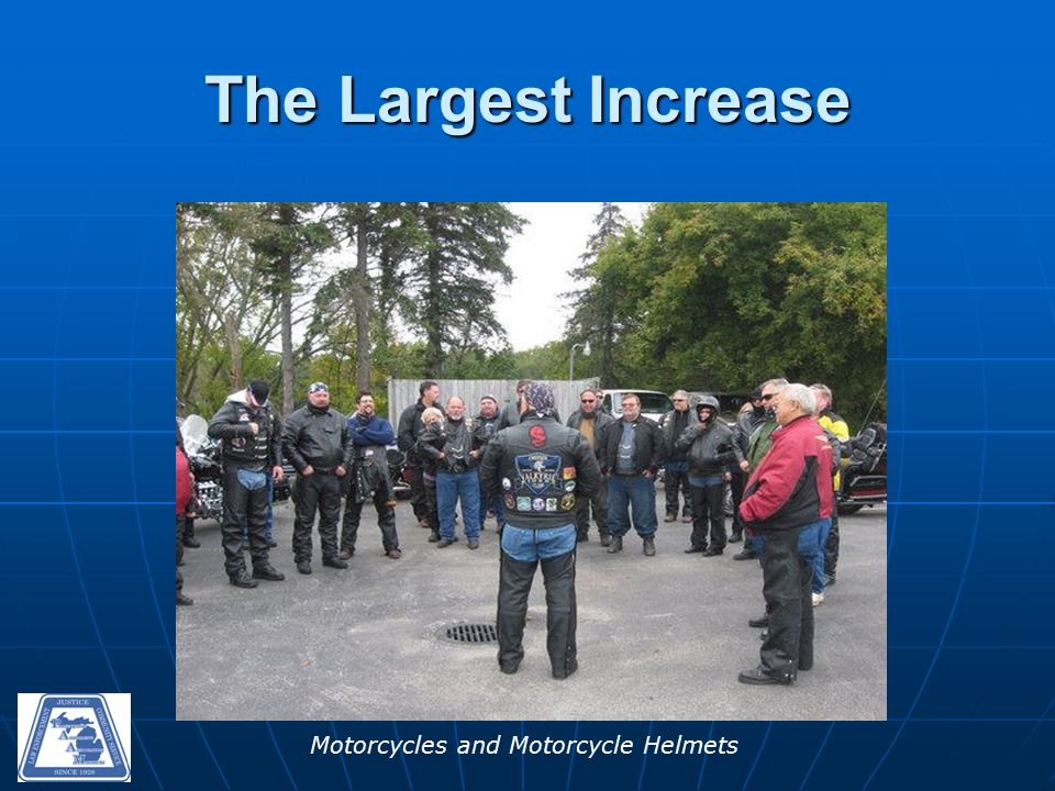Motorcycles and Motorcycle Helmets The Largest Increase