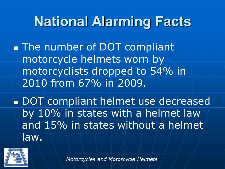 Motorcycles and Motorcycle Helmets National Alarming Facts The number of DOT compliant motorcycle helmets worn by motorcyclists dropped to 54% in 2010 from 67% in 2009.
