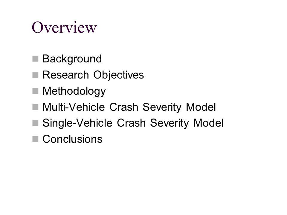 Overview Background Research Objectives Methodology Multi-Vehicle Crash Severity Model Single-Vehicle Crash Severity Model Conclusions