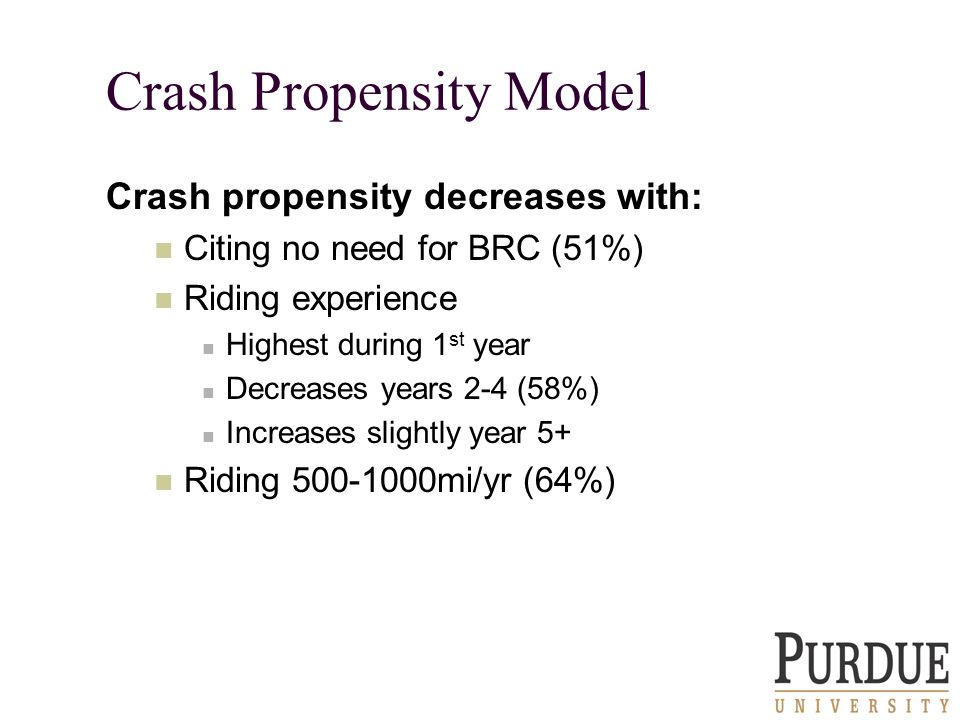 Crash Propensity Model Crash propensity decreases with: Citing no need for BRC (51%) Riding experience Highest during 1 st year Decreases years 2-4 (58%) Increases slightly year 5+ Riding 500-1000mi/yr (64%)