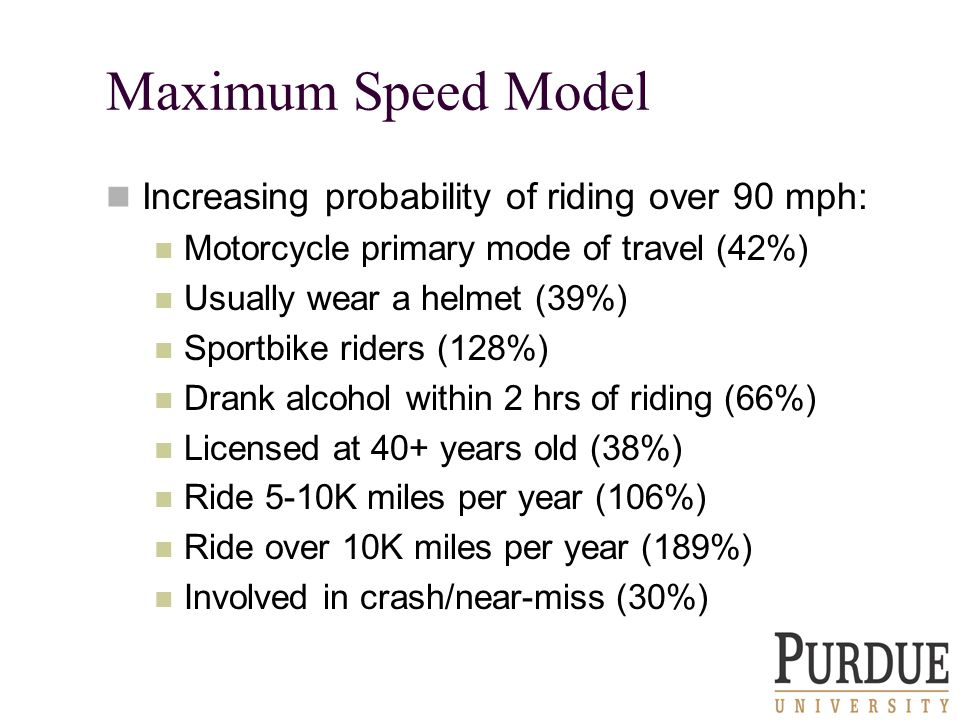 Maximum Speed Model Increasing probability of riding over 90 mph: Motorcycle primary mode of travel (42%) Usually wear a helmet (39%) Sportbike riders (128%) Drank alcohol within 2 hrs of riding (66%) Licensed at 40+ years old (38%) Ride 5-10K miles per year (106%) Ride over 10K miles per year (189%) Involved in crash/near-miss (30%)