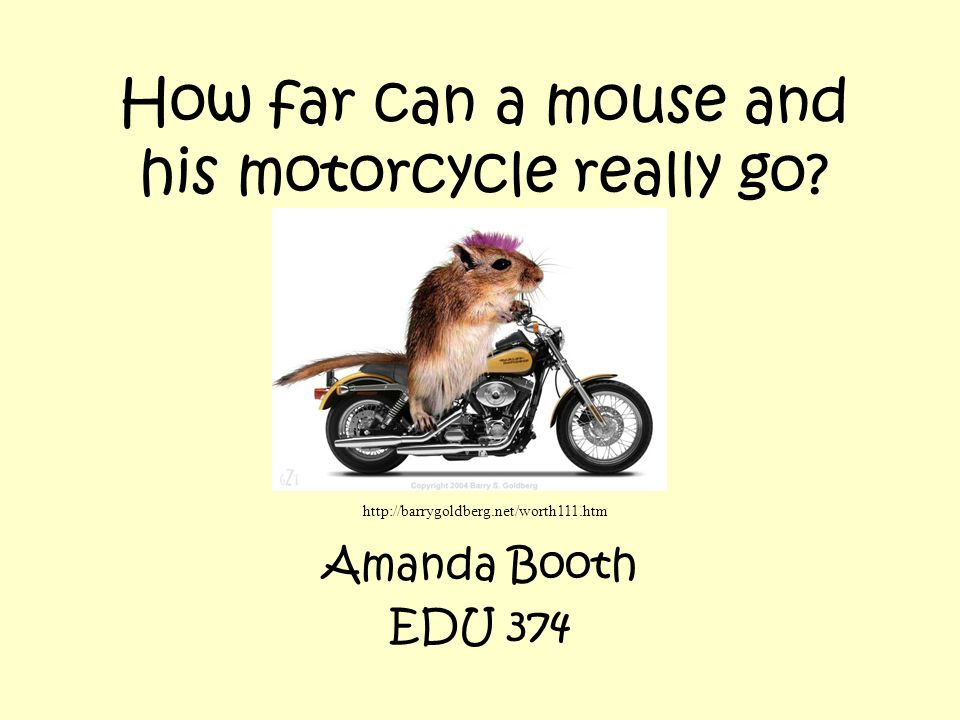 How far can a mouse and his motorcycle really go.