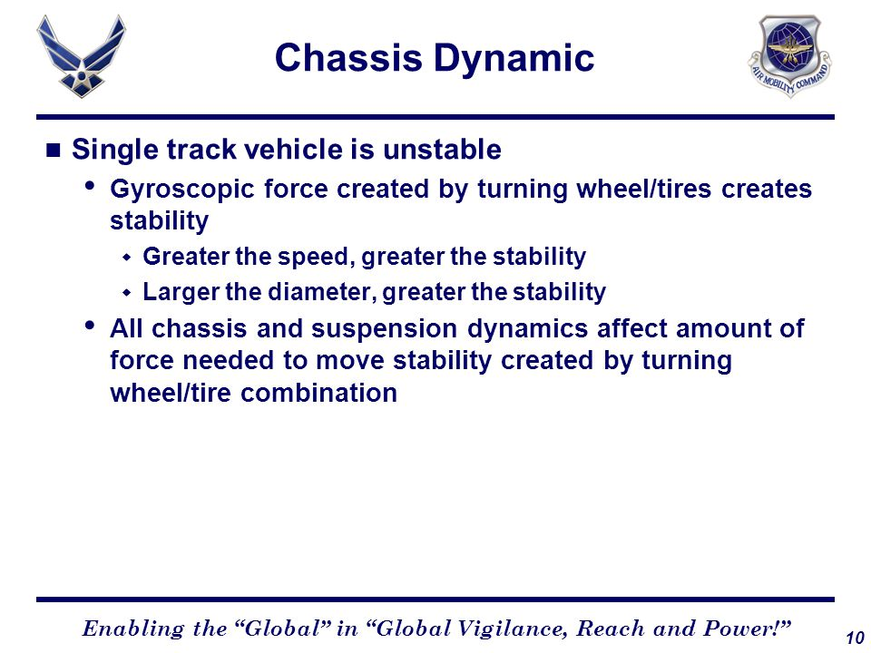 """10 Enabling the """"Global"""" in """"Global Vigilance, Reach and Power!"""" Chassis Dynamic Single track vehicle is unstable Gyroscopic force created by turning"""