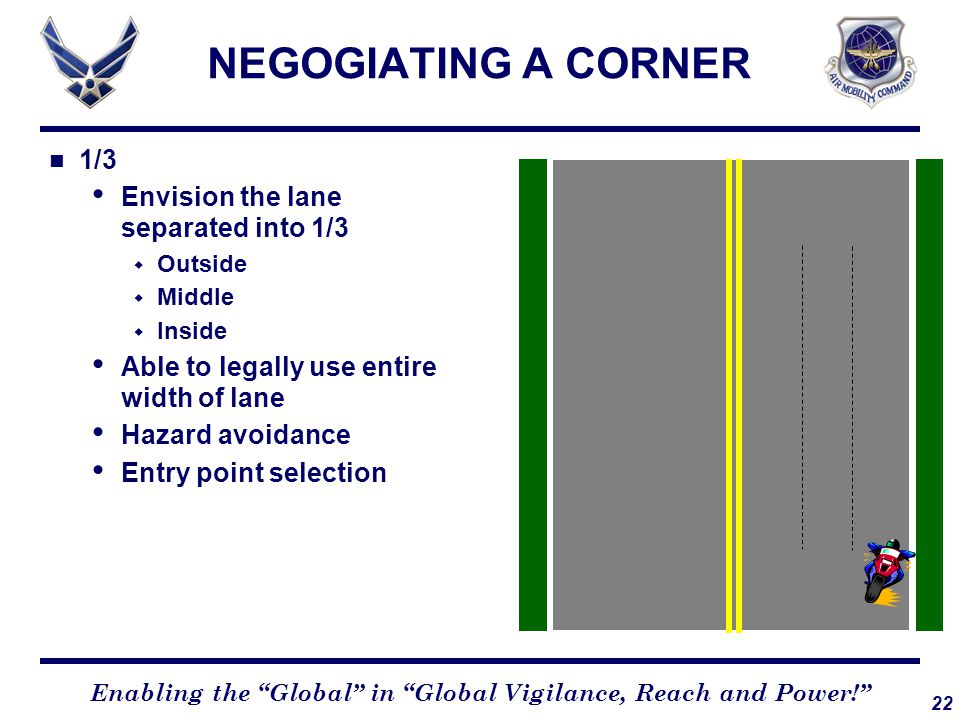 22 Enabling the Global in Global Vigilance, Reach and Power! NEGOGIATING A CORNER 1/3 Envision the lane separated into 1/3  Outside  Middle  Inside Able to legally use entire width of lane Hazard avoidance Entry point selection