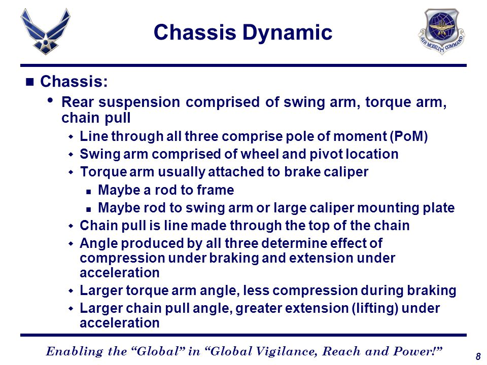"""8 Enabling the """"Global"""" in """"Global Vigilance, Reach and Power!"""" Chassis Dynamic Chassis: Rear suspension comprised of swing arm, torque arm, chain pul"""