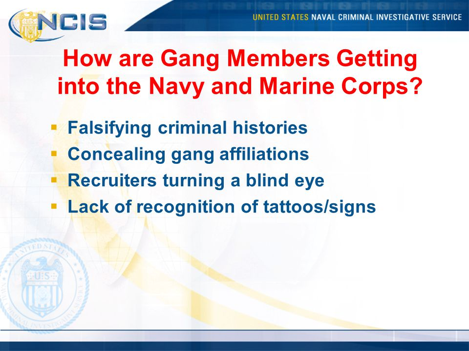 How are Gang Members Getting into the Navy and Marine Corps.