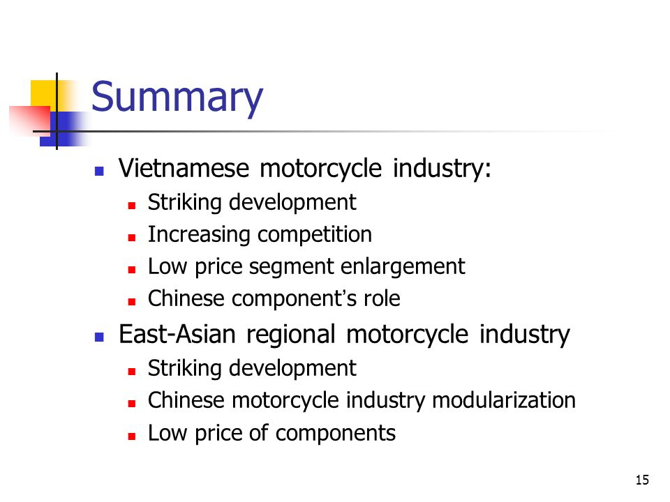 15 Summary Vietnamese motorcycle industry: Striking development Increasing competition Low price segment enlargement Chinese component ' s role East-A