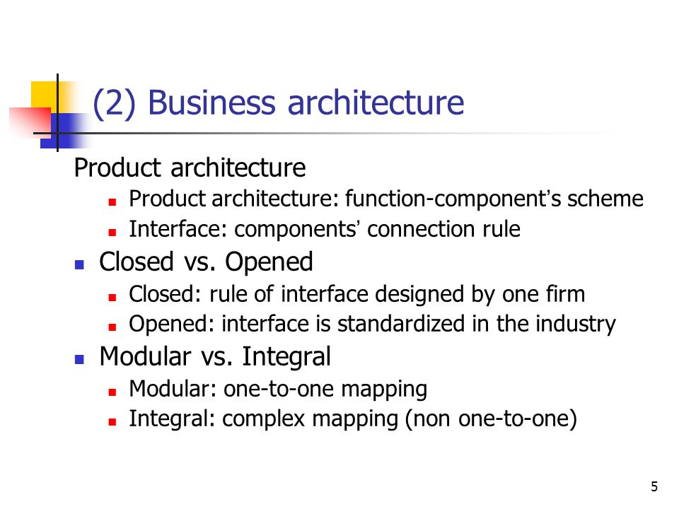 5 (2) Business architecture Product architecture Product architecture: function-component ' s scheme Interface: components ' connection rule Closed vs
