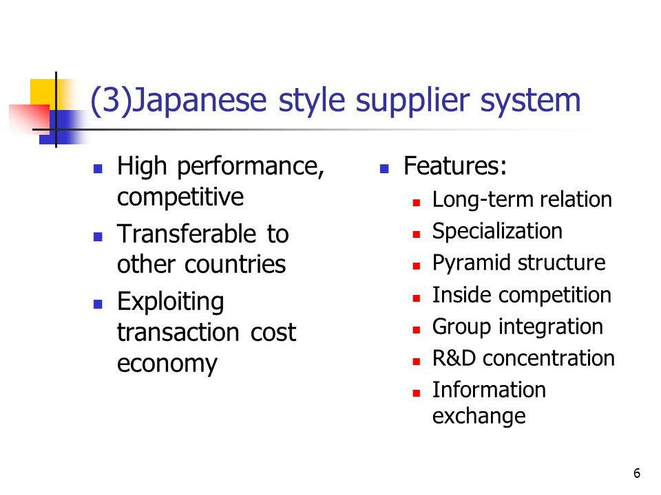 6 (3)Japanese style supplier system High performance, competitive Transferable to other countries Exploiting transaction cost economy Features: Long-t