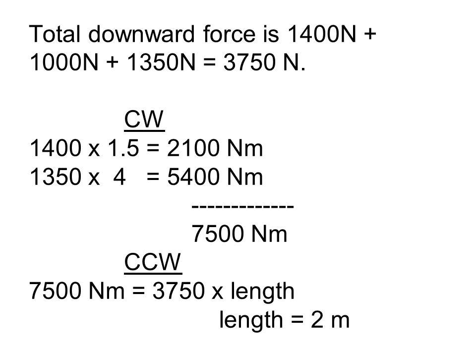 Total downward force is 1400N + 1000N + 1350N = 3750 N.
