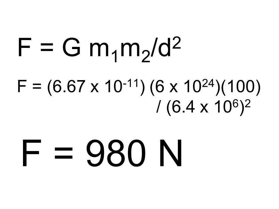 F = G m 1 m 2 /d 2 F = (6.67 x 10 -11 ) (6 x 10 24 )(100) / (6.4 x 10 6 ) 2 F = 980 N