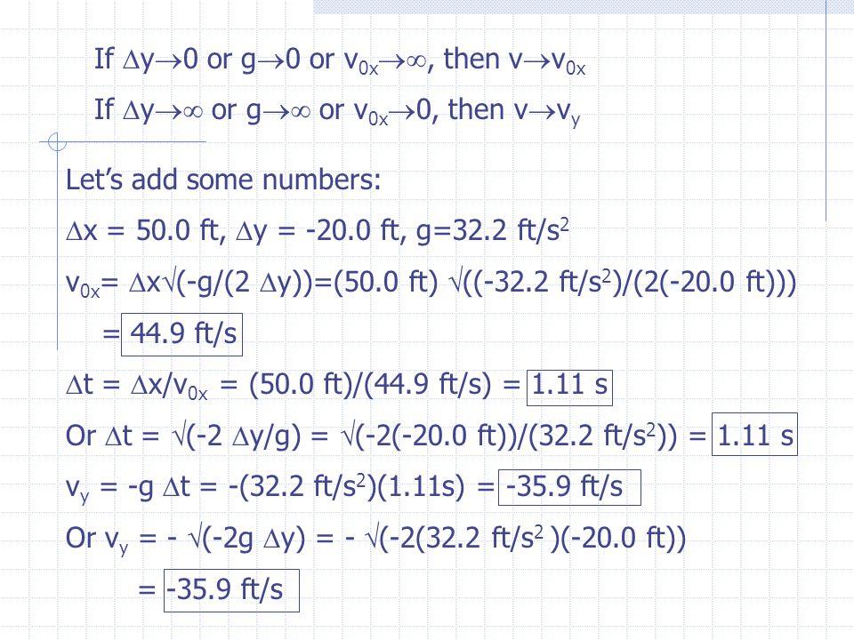=  [(44.9 ft/s) 2 +(35.9 ft/s) 2 ] = 57.5 ft/s  = sin -1 (v y /v) = sin -1 (-35.9/57.5) = -38.6  v 0x vyvy v  y x v = 57.5 ft/s @ - 38.6 