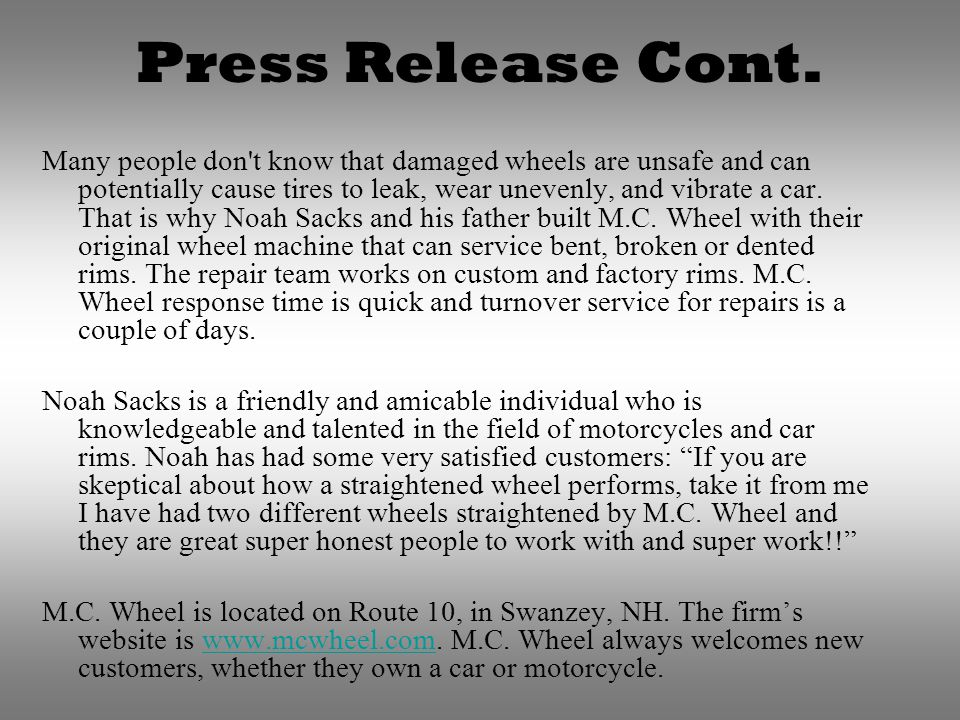 Press Release Cont.