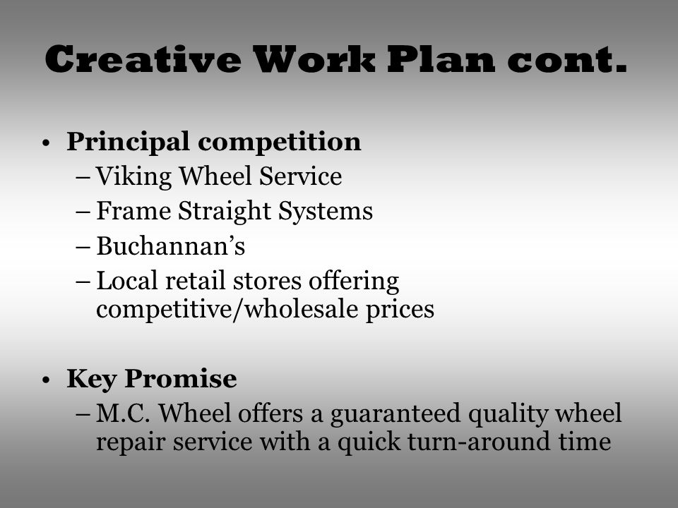 Creative Work Plan cont.
