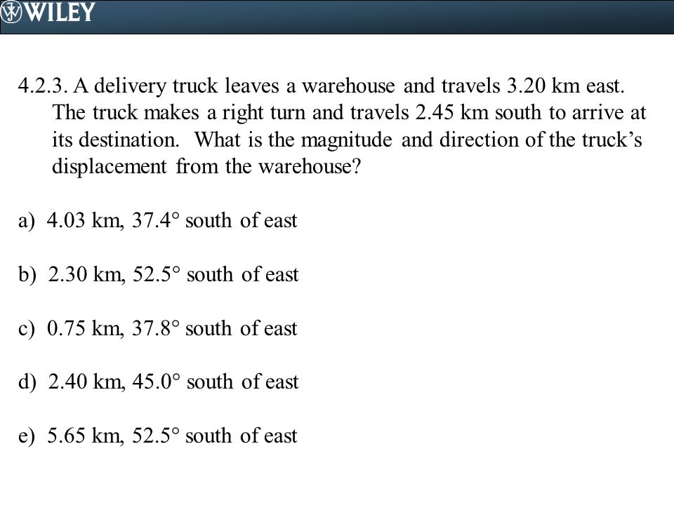 4.2.3.A delivery truck leaves a warehouse and travels 3.20 km east.