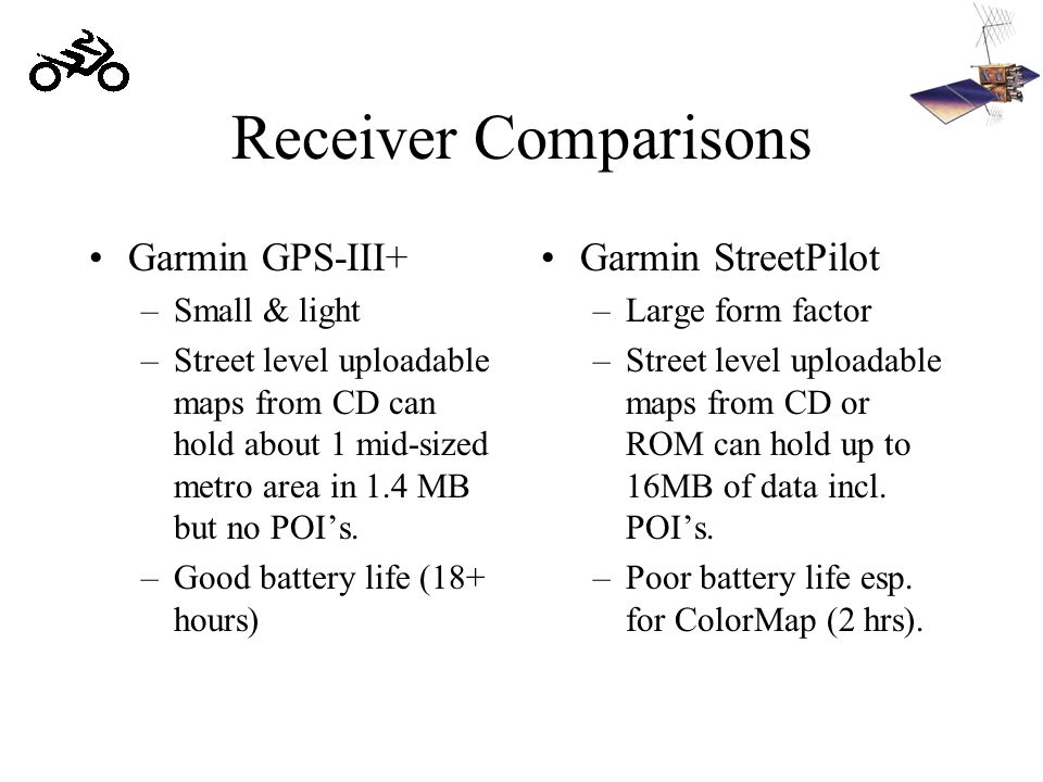 Receiver Comparisons Garmin GPS-III+ –Small & light –Street level uploadable maps from CD can hold about 1 mid-sized metro area in 1.4 MB but no POI's