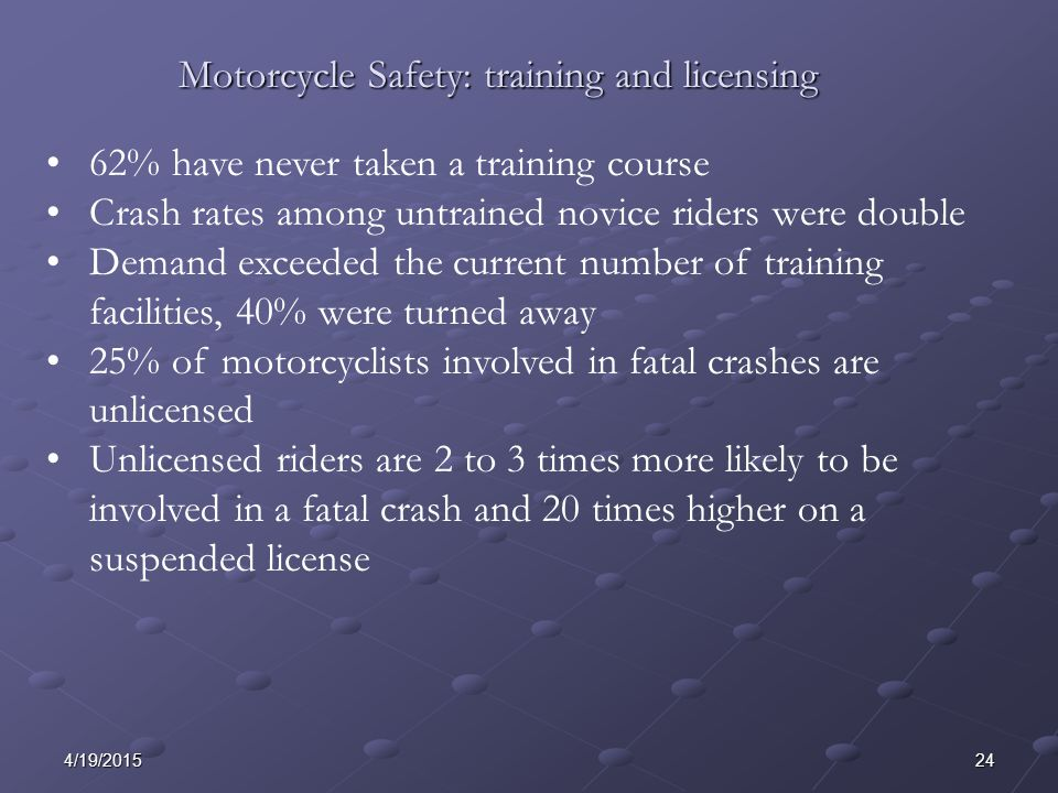 244/19/2015 62% have never taken a training course Crash rates among untrained novice riders were double Demand exceeded the current number of training facilities, 40% were turned away 25% of motorcyclists involved in fatal crashes are unlicensed Unlicensed riders are 2 to 3 times more likely to be involved in a fatal crash and 20 times higher on a suspended license Motorcycle Safety: training and licensing