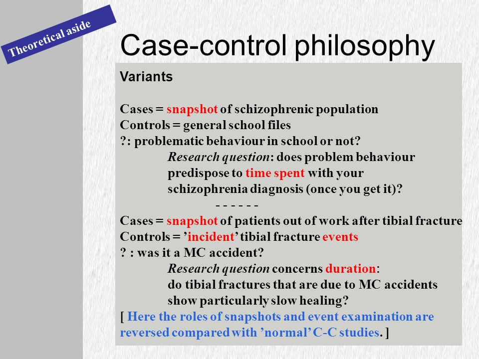 Case-control philosophy Theoretical aside Variants Cases = snapshot of schizophrenic population Controls = general school files : problematic behaviour in school or not.