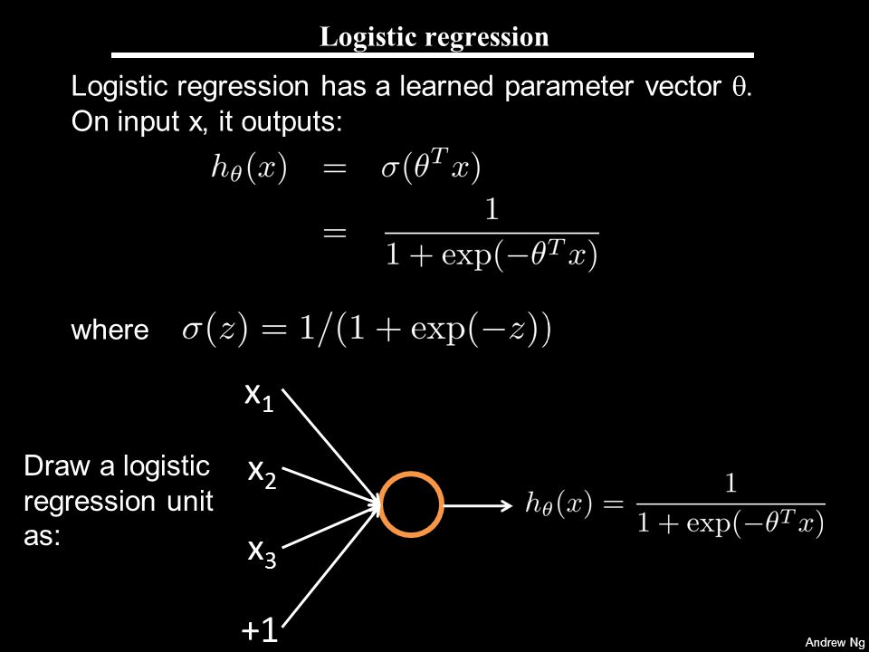 Andrew Ng Neural Network String a lot of logistic units together.