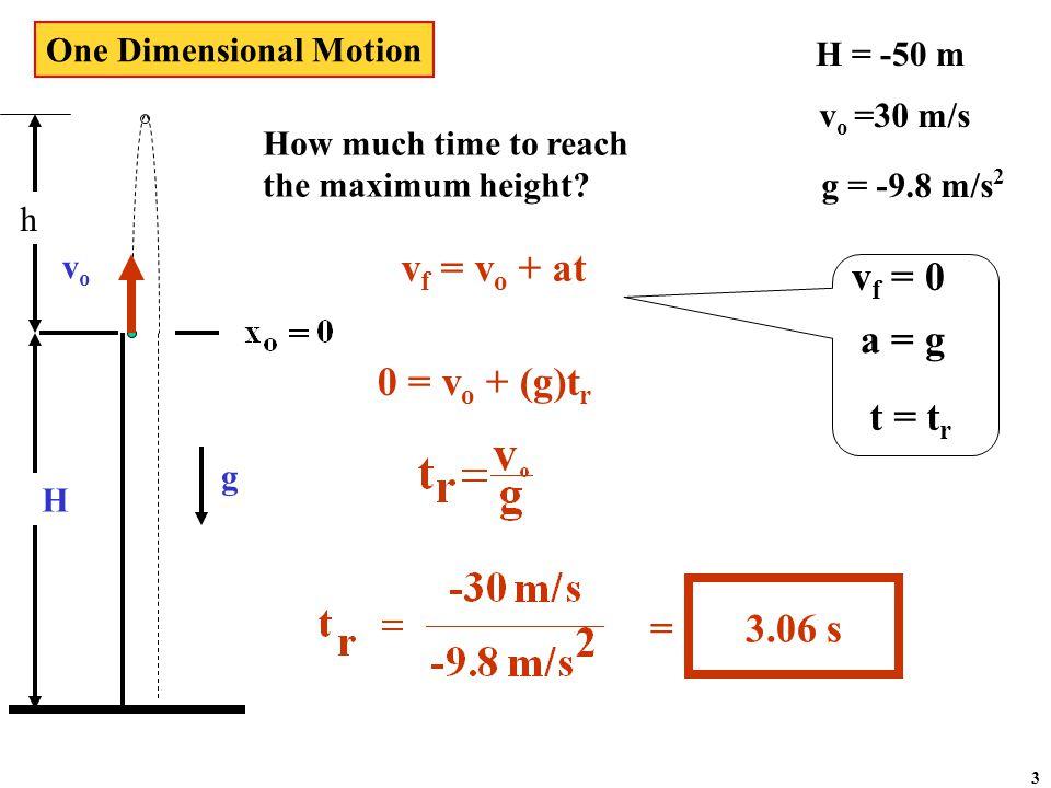 vovo g h  H H = -50 m v o =30 m/s g = -9.8 m/s 2 What is the speed of the ball at x o = 0.