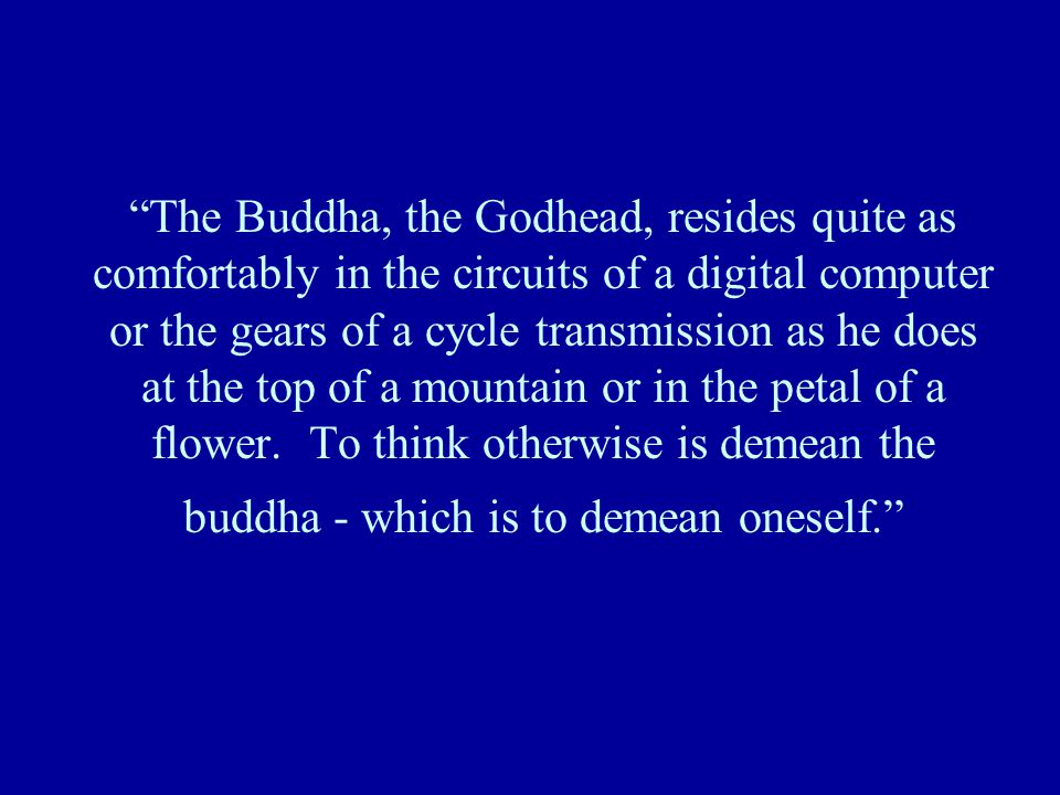 """The Buddha, the Godhead, resides quite as comfortably in the circuits of a digital computer or the gears of a cycle transmission as he does at the to"