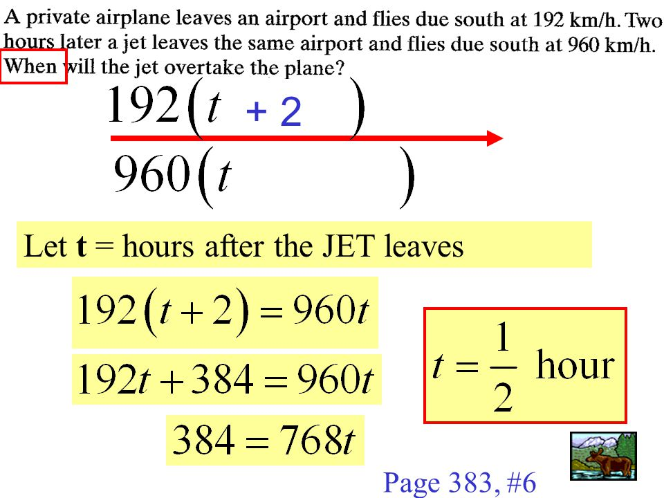 Page 383, #6 Let t = hours after the JET leaves + 2