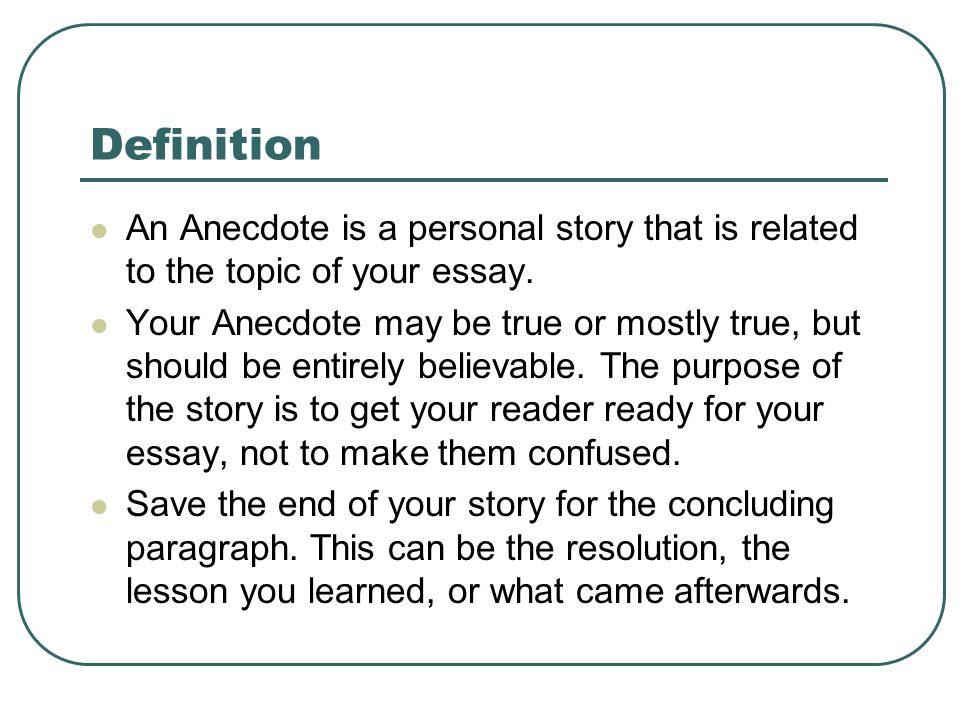 Youth Violence Essays Using An Anecdote In An Introductory Paragraph Please Put The Date  Definition An Anecdote Is A Anecdotes Essay Hell I Am Sam Essay also Brevity Is The Soul Of Wit Essay Anecdote Essay Using An Anecdote In An Introductory Paragraph Please  Buy Essay Paper