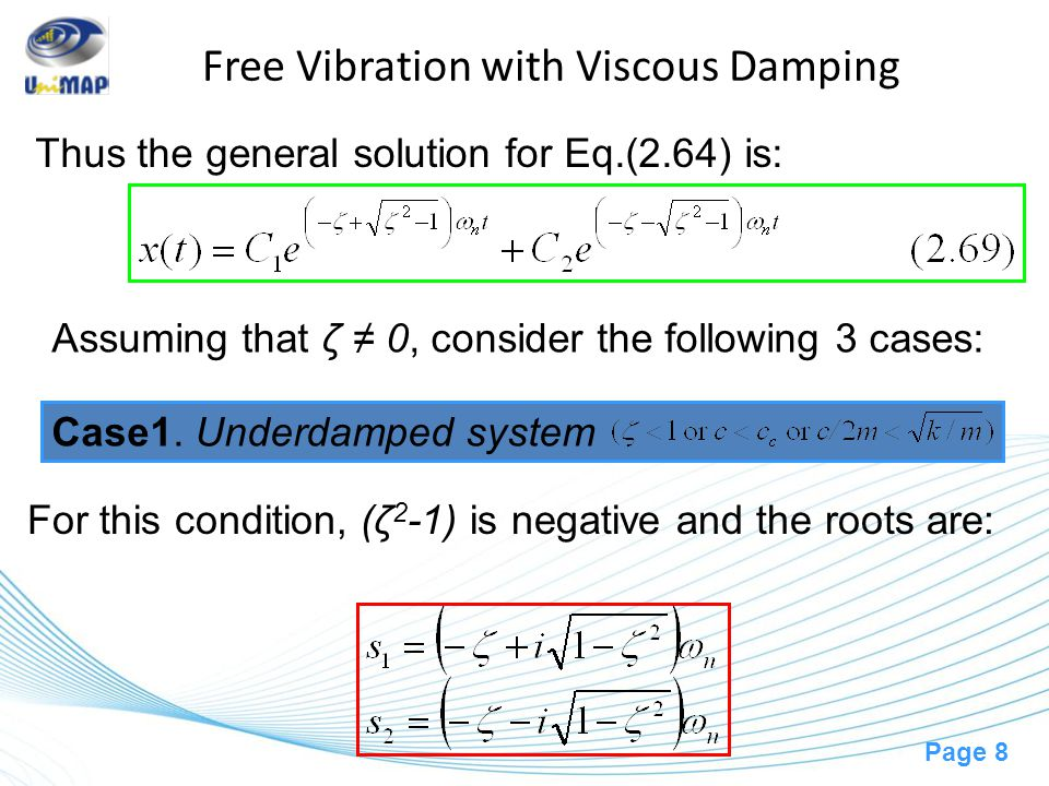 Page 9 Free Vibration with Viscous Damping where (C' 1,C' 2 ), (X,Φ), and (X 0, Φ 0 ) are arbitrary constants to be determined from initial conditions.