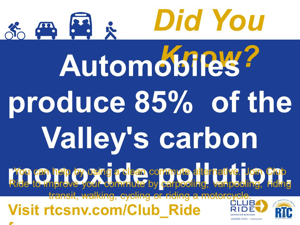 Did You Know? Automobiles produce 85% of the Valley's carbon monoxide pollution. You can help by using a clean commute alternative. Join Club Ride to