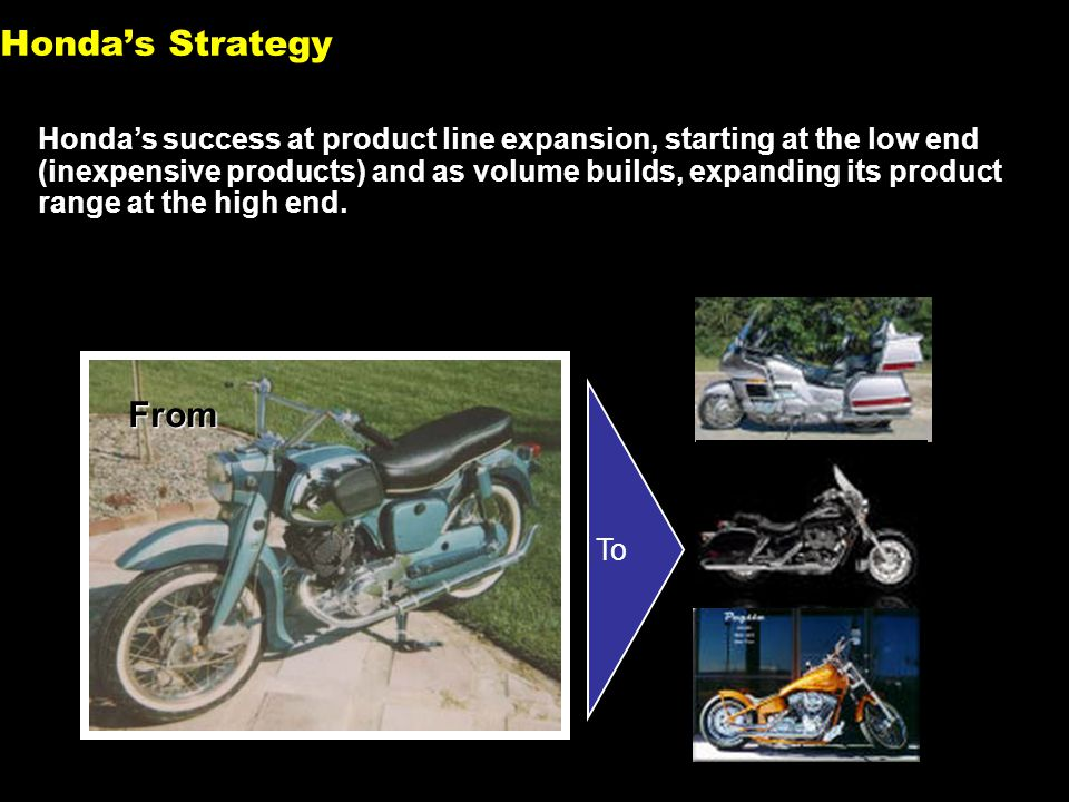 11 Honda's success at product line expansion, starting at the low end (inexpensive products) and as volume builds, expanding its product range at the high end.