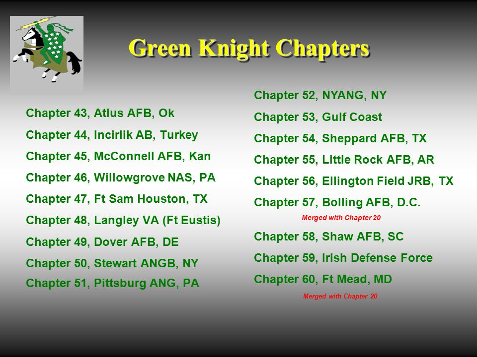 Green Knight Chapters Chapter 43, Atlus AFB, Ok Chapter 44, Incirlik AB, Turkey Chapter 45, McConnell AFB, Kan Chapter 46, Willowgrove NAS, PA Chapter 47, Ft Sam Houston, TX Chapter 48, Langley VA (Ft Eustis) Chapter 49, Dover AFB, DE Chapter 50, Stewart ANGB, NY Chapter 51, Pittsburg ANG, PA Chapter 52, NYANG, NY Chapter 53, Gulf Coast Chapter 54, Sheppard AFB, TX Chapter 55, Little Rock AFB, AR Chapter 56, Ellington Field JRB, TX Chapter 57, Bolling AFB, D.C.