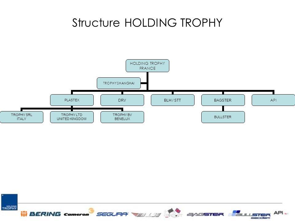 Structure HOLDING TROPHY HOLDING TROPHY FRANCE PLASTEX TROPHY SRL ITALY TROPHY LTD UNITED KINGDOM TROPHY BV BENELUX DRVBLH / STTBAGSTER BULLSTER API TROPHY SHANGHAI