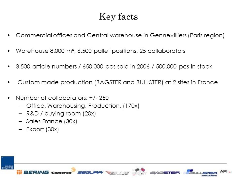 Key facts Commercial offices and Central warehouse in Gennevilliers (Paris region) Warehouse 8.000 m², 6.500 pallet positions, 25 collaborators 3.500 article numbers / 650.000 pcs sold in 2006 / 500.000 pcs in stock Custom made production (BAGSTER and BULLSTER) at 2 sites in France Number of collaborators: +/- 250 –Office, Warehousing, Production, (170x) –R&D / buying room (20x) –Sales France (30x) –Export (30x)