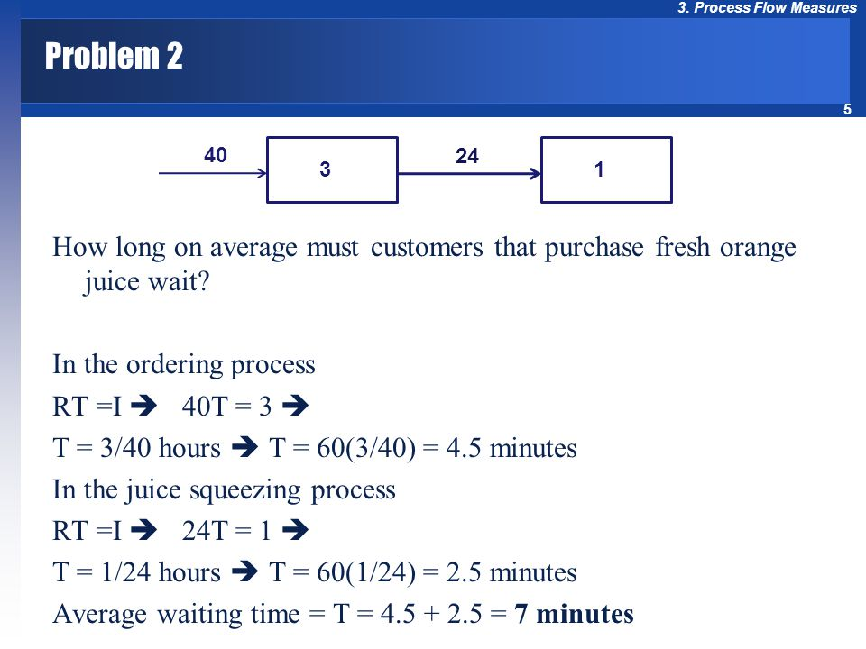 5 3. Process Flow Measures Problem 2 How long on average must customers that purchase fresh orange juice wait? In the ordering process RT =I  40T = 3