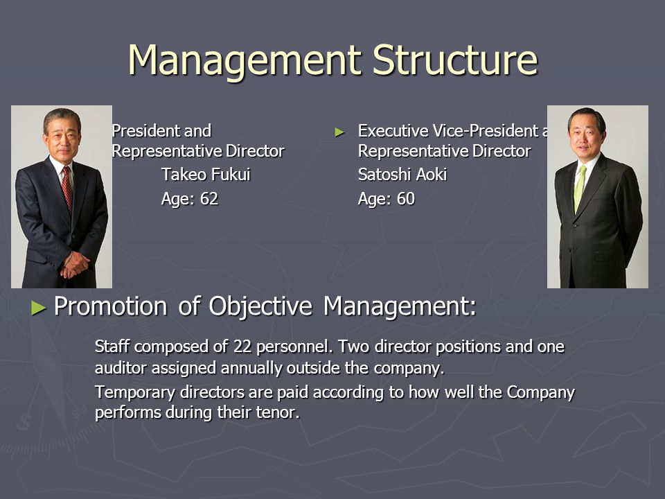 Management Structure ► President and Representative Director Takeo Fukui Age: 62 ► Executive Vice-President and Representative Director Satoshi Aoki Age: 60 ► Promotion of Objective Management: Staff composed of 22 personnel.