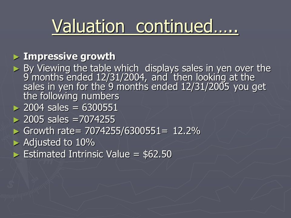 Valuation continued…..