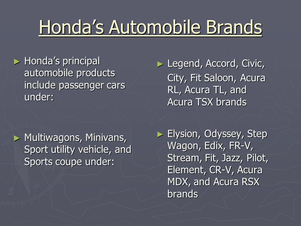 Consumer Reports Top Automobile picks for 2006 ► Top Small Sedan (less than $20gs) ► Top Family Sedan ($20-$30gs) ► Top Upscale Sedan ($30-40gs) ► Luxury Sedan ► SUV ($30gs and more) ► Small SUV (less than $30gs) ► Top Minivan ► Top Pick-up Truck ► Green Car ► Fun to drive Honda Civic Honda Accord Acura TL (Honda) Infiniti M35 (Nissan) Toyota Highlander Hybrid Subaru Forester Honda Odyssey Honda Ridgeline Toyota Prius Subaru Imprezza ► Additionally, Honda was 2 nd overall in vehicle reliability right behind Lexus
